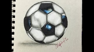 COMO DIBUJAR UN BALON DE FUTBOL REALISTA - HOW TO DRAW FOOTBALL Soccer ball REALISTIC