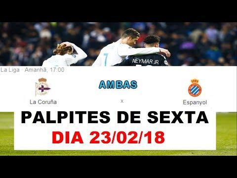 Palpites de futebol do dia 23/02/2018 +...
