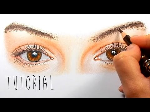 Tutorial | How to draw, color realistic eyes with colored pencils - step by step | Emmy Kalia