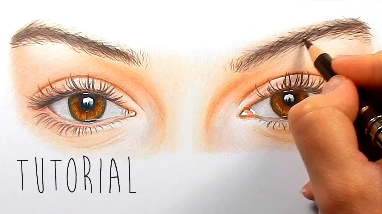 tutorial how to draw color realistic eyes with colored pencils