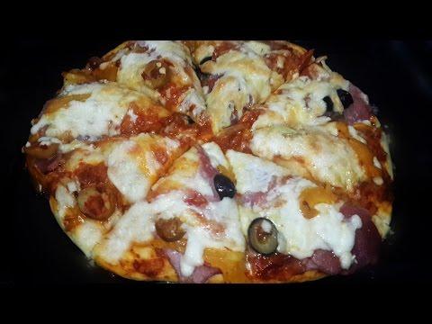 صورة  طريقة عمل البيتزا أسهل طريقه لعمل بيتزا البسطرمة -  بيتزا طرية و هشة  - Homemade Pizza Recipe طريقة عمل البيتزا من يوتيوب