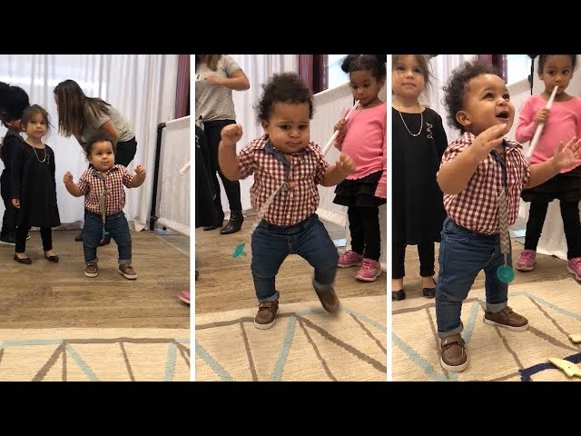 Adorable Moment Little Boy Takes First Steps