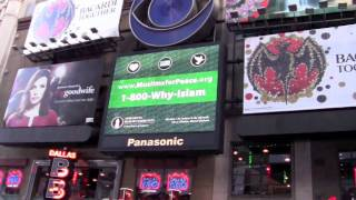 Muslims for Peace message at Times Square, New York