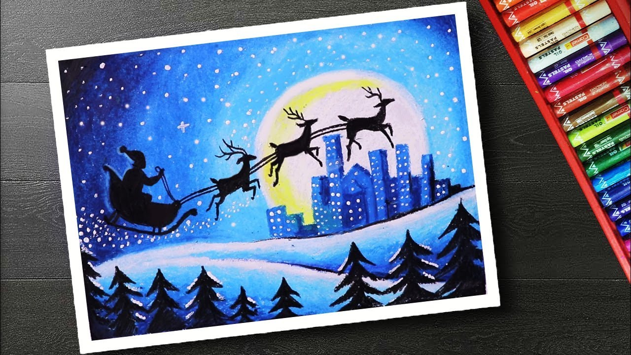How To Draw Scenery Santa Christmas Drawing And Painting Youtube