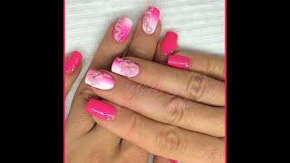 Nail art - Monocolore rosa fluo con 2 sfumature e decori in 3d acrilico Thumbnail