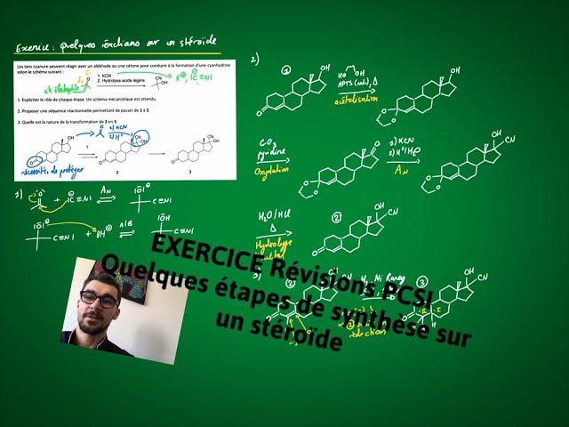 Exercice (révisions PCSI) : quelques réactions sur un stéroïde