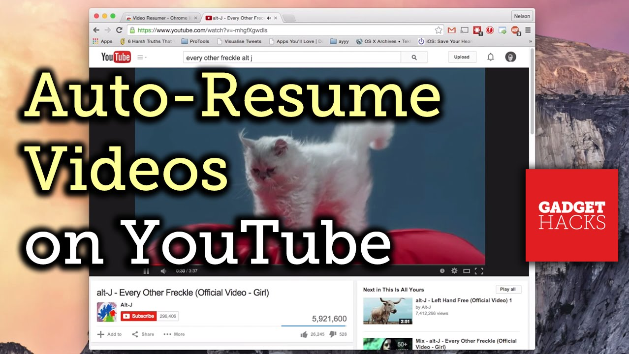 automatically resume youtube videos from where you last