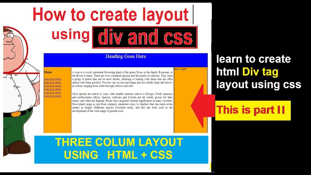 HTML CSS LAYOUT TUTORIAL PART II | CREATE HTML TEMPLATE STEP BY ...