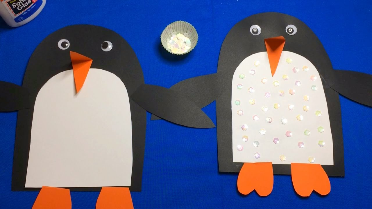Sequin Penguin Preschool Craft For Fine Motor Skills Development