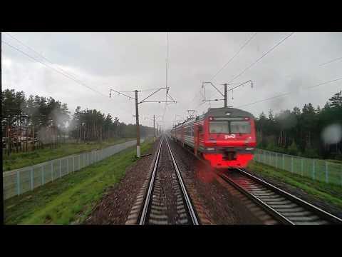 Ильино-Дзержинск(из окна хвоста поезда) поезд№236Г Москва-Нижний Новгород 20.07.2018