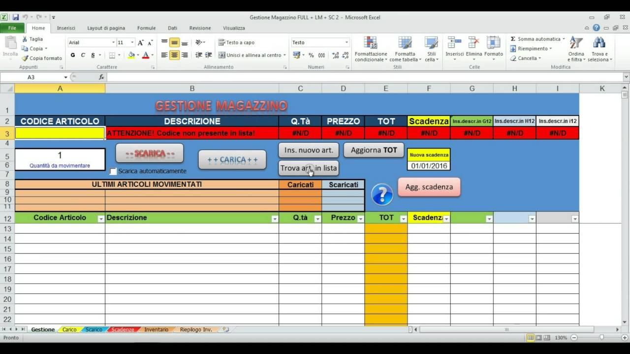 Tutorial Gestione Magazzino Excel V Full