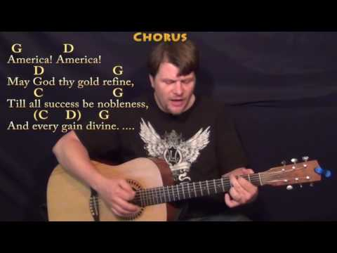 America the Beautiful (Traditional) Strum Guitar Cover Lesson in G with Chords/Lyrics