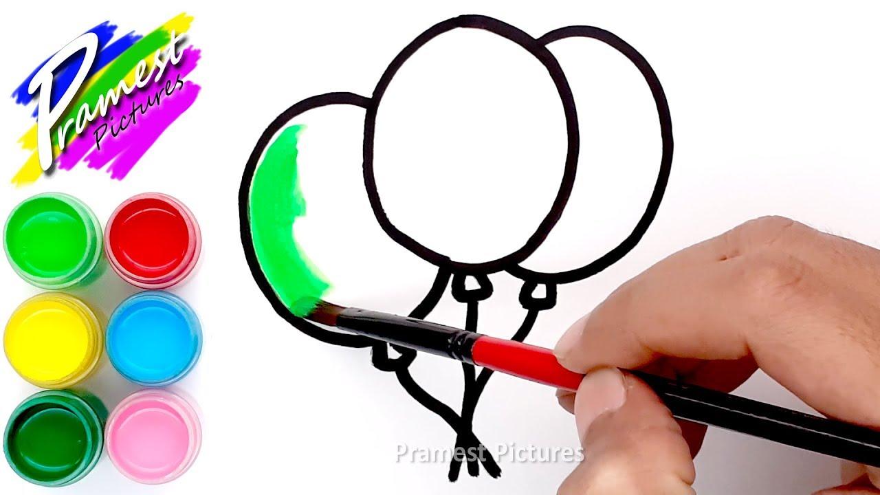Balon ???? Cara Menggambar dan Mewarnai Gambar Anak TK - YouTube