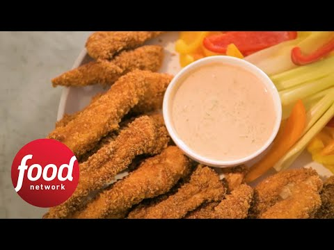Sweet Chili Chip Crusted Chicken Fingers Food Network Youtube