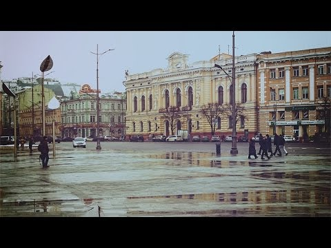 Walk through the Plaza of the Constitution. Kharkiv. Ukraine