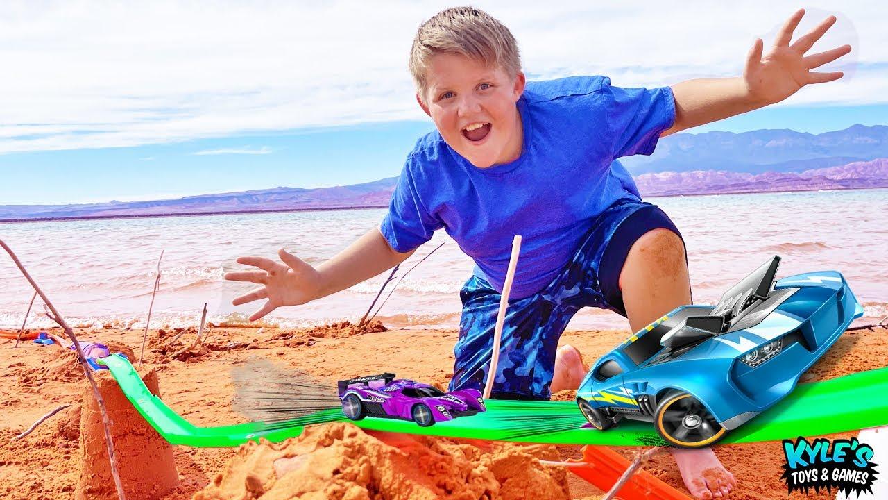 GIANT TOY CAR TRACK on the Beach!