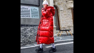 Зима 2021 90 белый пуховик женская длинная модная блестящая красная черная теплая парка куртка