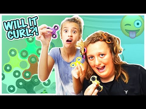 CURLED HIS HAIR WITH FIDGET SPINNERS! WILL IT WORK OR GET STUCK?!