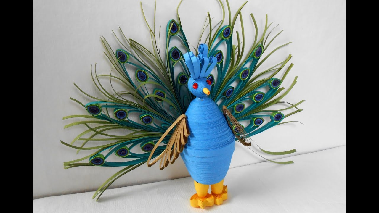 3d Quilling Peacock Making Tutorial Youtube