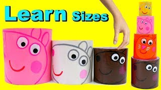 Learn Sizes with Peppa Pig Surprise Toys Stacking Cups! Learning videos for Toddlers Kids