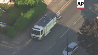 Aerials of police operation under way in Wigan