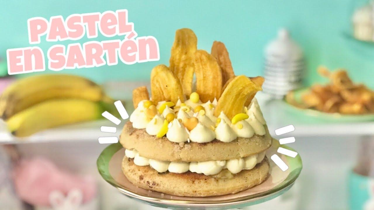 PASTEL de PLÁTANO EN SARTÉN con 1 huevo | 🍌 Bizcocho  de plátano SIN HORNO | Nivel delicia