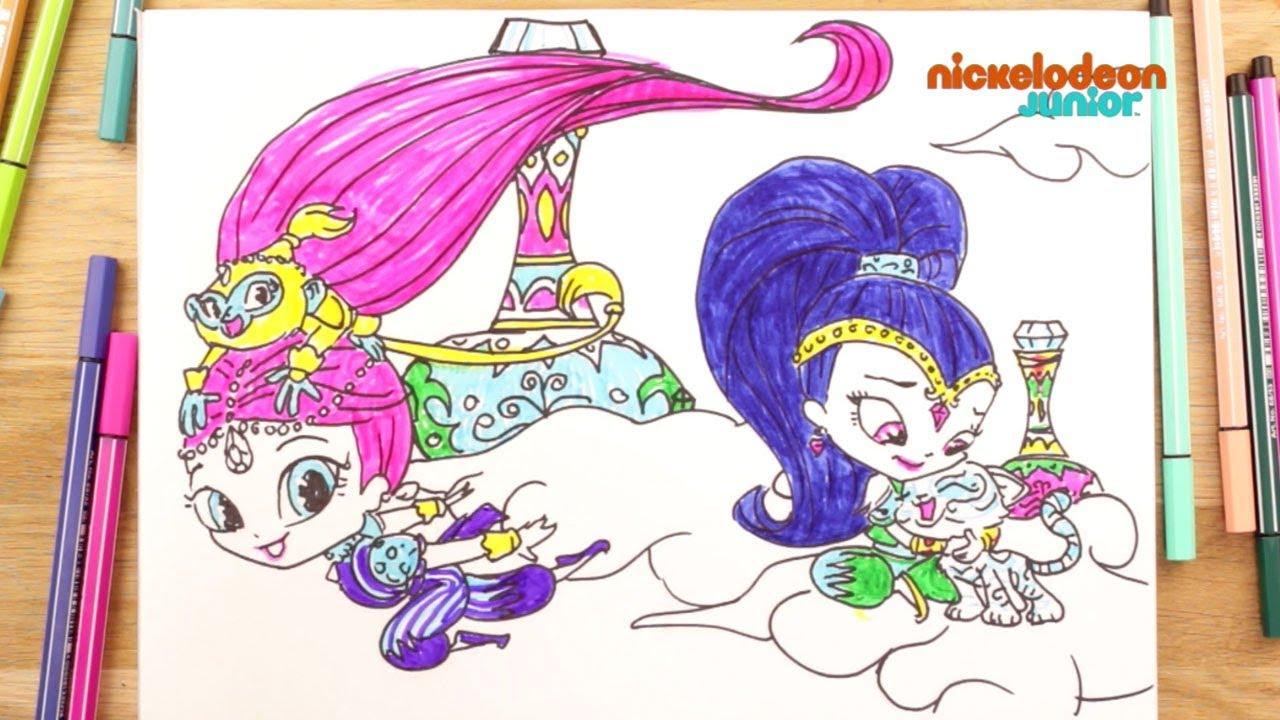 1 2 3 Coloriage Shimmer Et Shine Sur Les Nuages Episode Entier Nickelodeon Junior Youtube