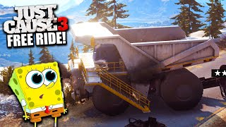 Just Cause 3 Free Ride - Giant Dump Truck, Highest Point, Bentley Aston, Tractor!