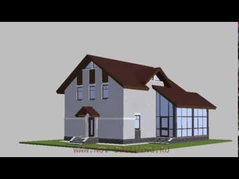 3D видео проект - дом с мансардой и зимним садом 126 м2