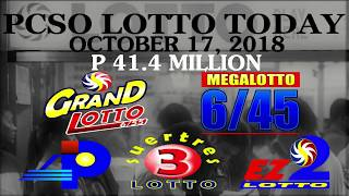 Lotto Result Today October 17 2018 (Wednesday) - PCSO LOTTO TODAY