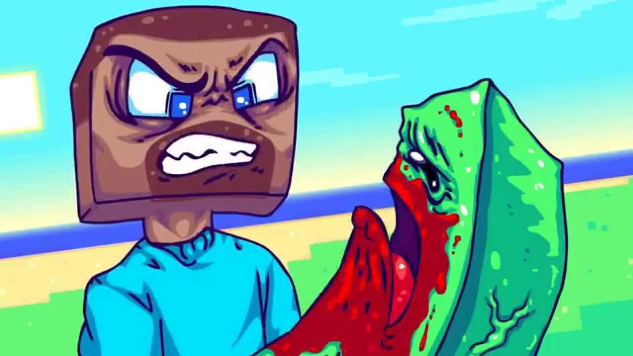 Steve beats up creeper youtube - Minecraft creeper and steve ...