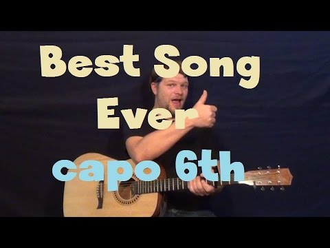 Best Song Ever (One Direction) SUPER EASY Guitar Lesson Capo 6th Fret How to Play Tutorial