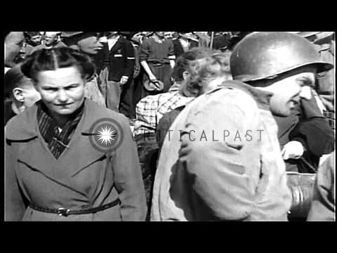 A large crowd of German civilians gathered at Buchenwald Concentration Camp in Ge...HD Stock Footage