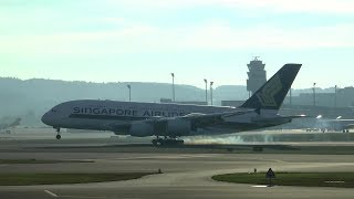 Singapore Airlines A380 landing & takeoff at Zurich Airport