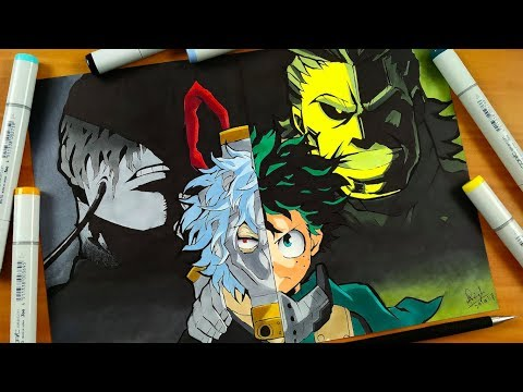 Drawing Izuku & All Might VS Tomura & All For One - Boku No Hero Academia