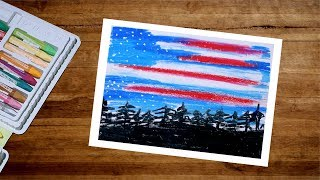 Landscape USA Flag Scenery Drawing With Oil Pastel For Beginners - Step By Step