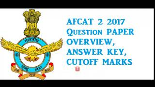 AFCAT 2 2017 Answer Key with Question paper (27th AUGUST 2017)