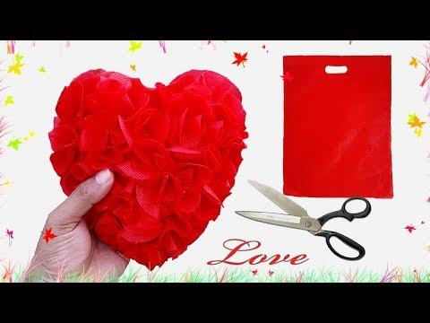 শপিং ব্যাগ দিয়ে খুব সুন্দর লাভ কুশন তৈরি || Shopping Bag Recycled Idea-Love Crafts-Handmade Craft