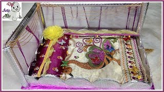 Wedding Tray decoration | Making Marriage Tatta with Cardboard+Pearl+Satine Ribbon || Marriage Tatta