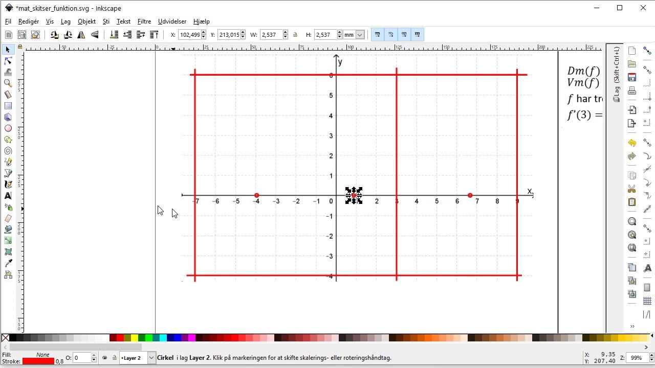 Inkscape - Matematik-opgave: Skitser funktion som overholder bestemte krav.