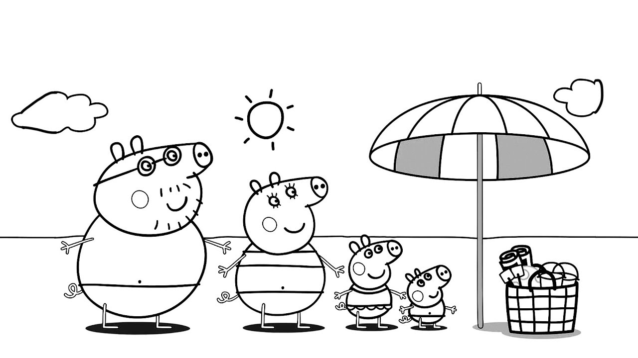 Peppa Pig Drawing  Peppa Pig Friends Family at the Beach  Colors For Kids  Children