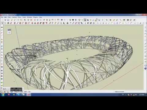 Line Drawings From D Models : Beijing china olympic stadium sketchup modeling youtube