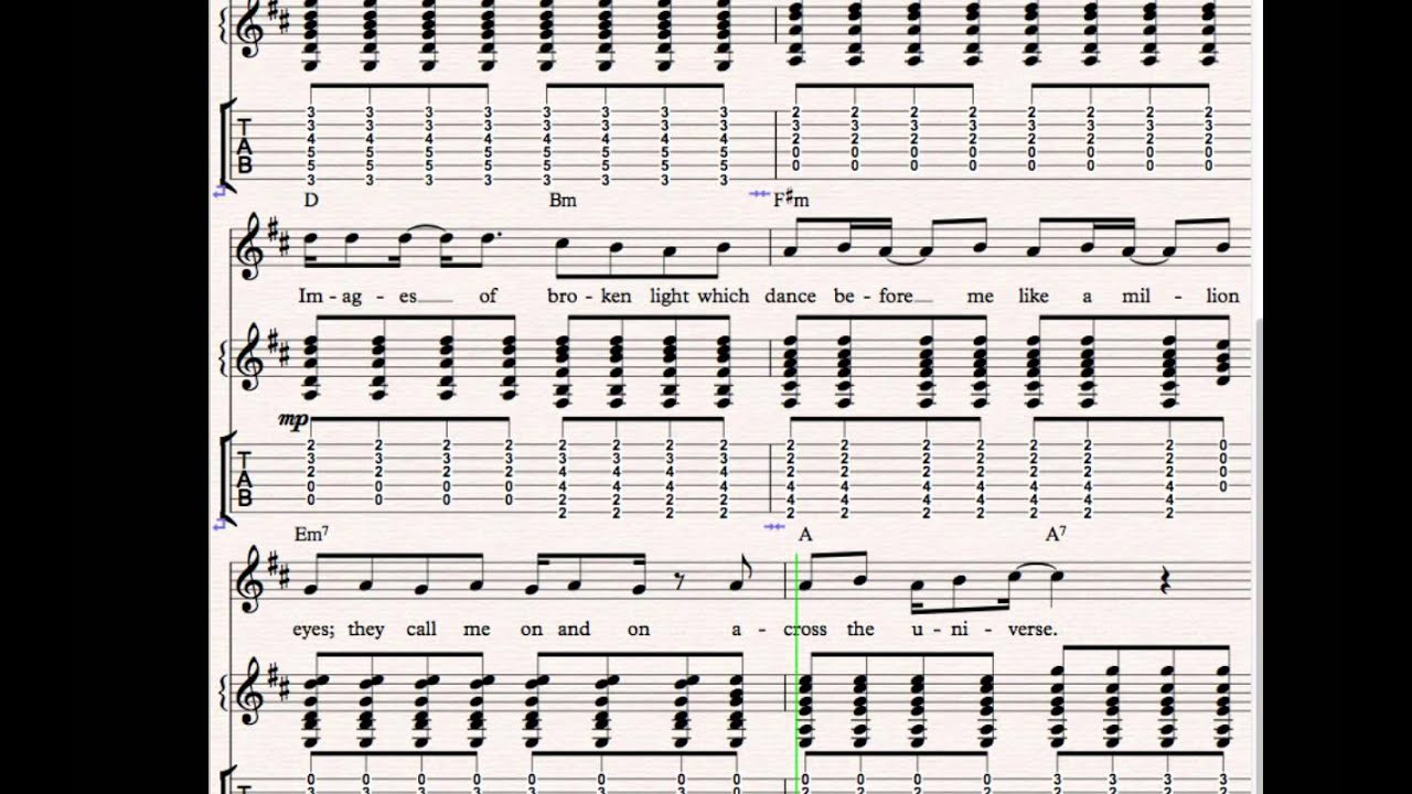 The Beatles - Across The Universe Guitar TABs - YouTube
