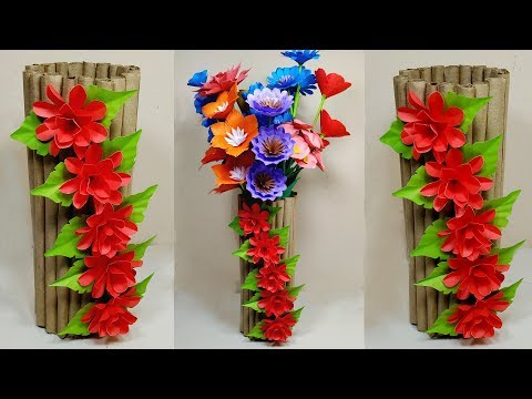 How to Make A Gorgeous Flower Vase with Paper At Home | Flower Vase Easy | Jarine's Crafty Creation