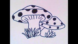 Как нарисовать грибы - How to draw mushrooms - 如何画蘑菇 Как нарисовать милые рисунки