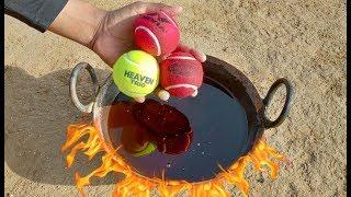 Tennis Ball vs Hot oil experiment || 3 Tennis ball in hot oil || Experiment king
