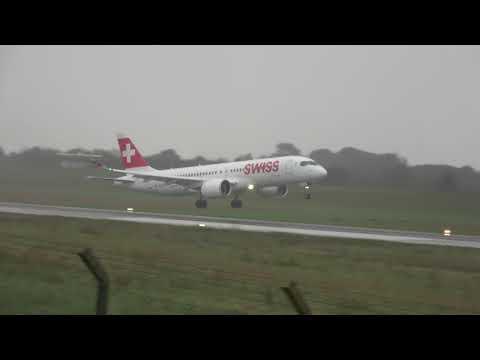 Bombardier CSeries CS300 (Swiss) HB-JCE RWY27 landing Biarritz (BIQ/LFBZ)