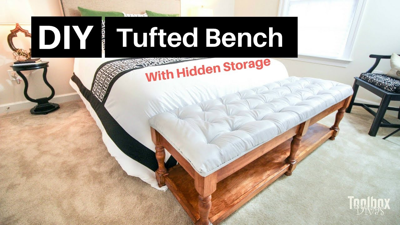 how to build a diy tufted bench with hidden storage home decor