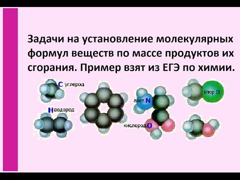 Решение задач на нахождение молекулярных формул веществ по массе продуктов их сгорания.