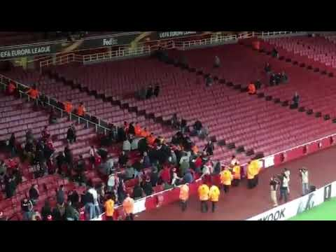 Fight between the Arsenal and Cologne fans inside the Emirates Stadium👊💥👊💥